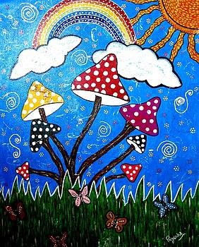 Whimsical Painting-Colorful Mushrooms by Priyanka Rastogi