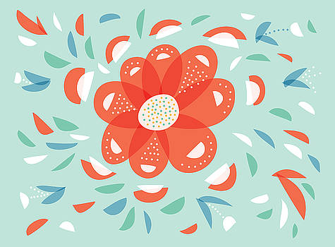 Whimsical Red Flower by Boriana Giormova