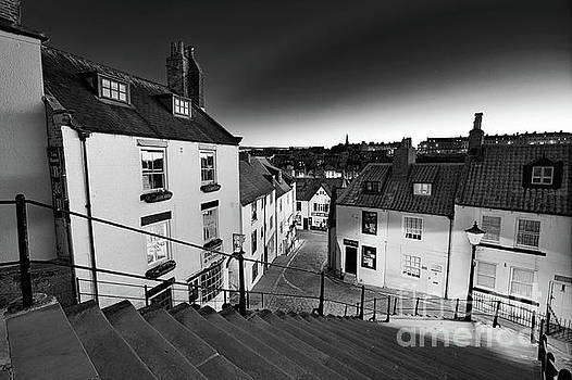 Whitby Steps at Night 1 - mono by Martin Williams