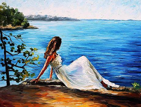 White Angel - PALETTE KNIFE Oil Painting On Canvas By Leonid Afremov by Leonid Afremov