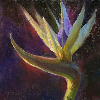 White Bird of Paradise -Tropical Flower Painting by Karen Whitworth