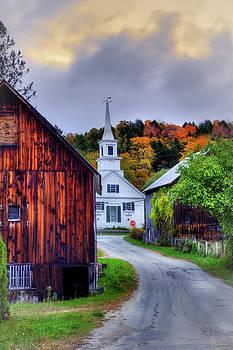 White Church and Barn in Autumn - Vermont by Joann Vitali