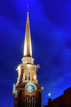 White Church Steeple at Night with Moon - Newburyport, MA by Joann Vitali