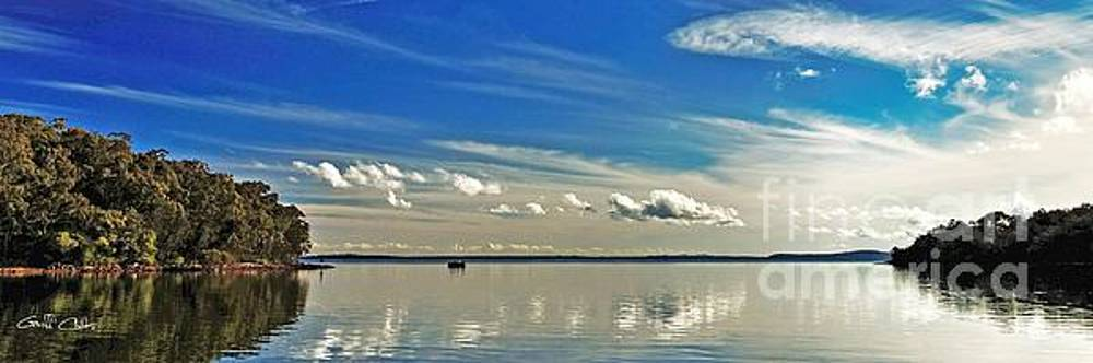 White Cloud Reflections Landscape. Exclusive Original  Photo Art. by Geoff Childs