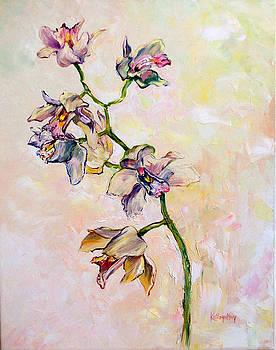 White Cymbidium Orchid by Kathy Harker-Fiander