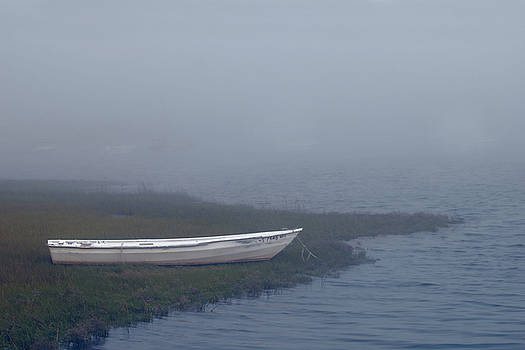 White Dory in Fog by Lee Fortier