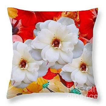 White Flower Throw Pillow by Gayle Price Thomas