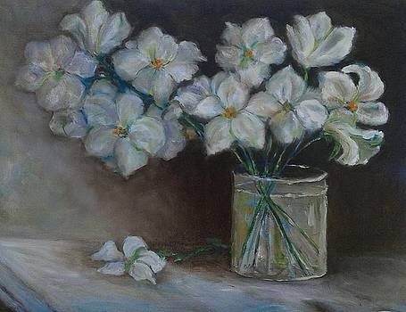 White Flowers in Vase by Ruth Mabee
