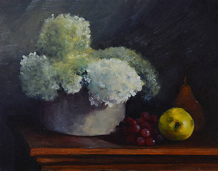 White Flowers on Redwood Table  by Rich Alexander