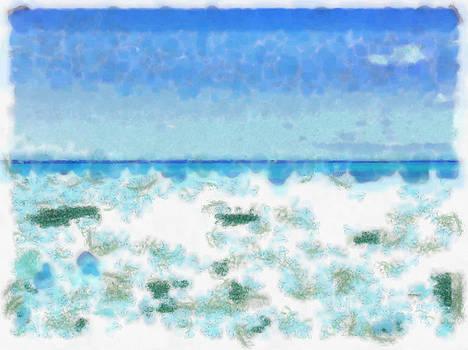 White foamy water near the beach by Ashish Agarwal