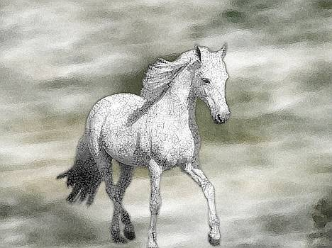 White Horse watercolor by Sajjad Musavi