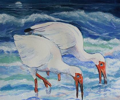 White Ibis in the Surf by Ruth Mabee