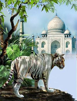 White Tiger and the Taj Mahal Image of Beauty by Gina Femrite