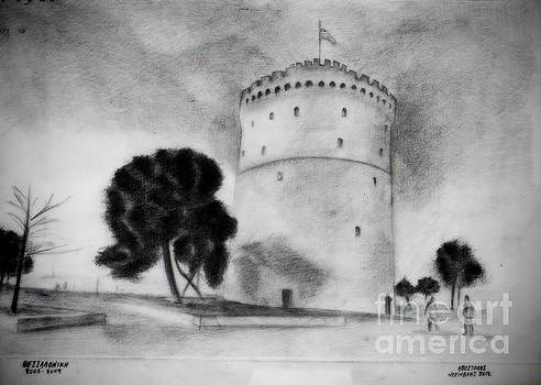 White Tower of Thessaloniki by Pencil Drawing
