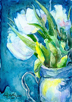 White Tulips in a Pitcher by Andy  Mathis