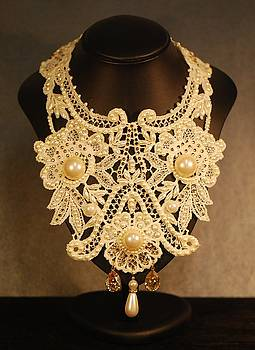 Wide Cream Lace Collar Necklace by Janine Antulov