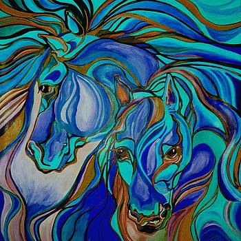 Tracey Harrington-Simpson - Wild  Horses In Brown and Teal