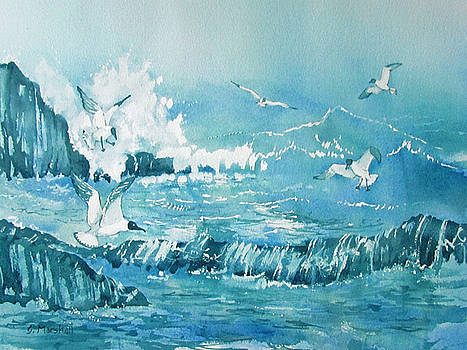 Wild Waves with Gulls by Glenn Marshall