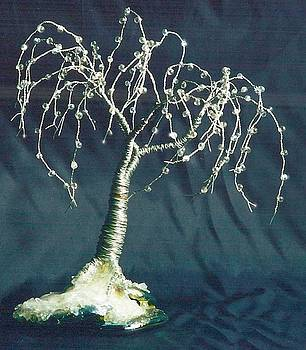 Willow on Glass Wire Tree Sculpture by Sal Villano