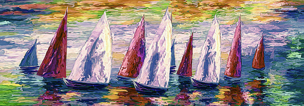 Wind on Sails Panorama by Art OLena