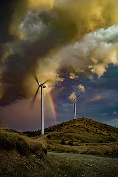 Wind Turbine and the Rainbow by Plamen Petkov