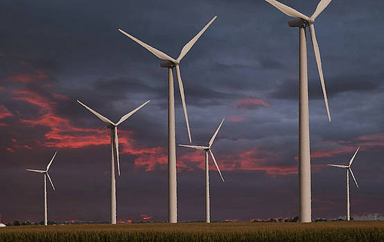 Wind turbines at dusk by Jim Wright