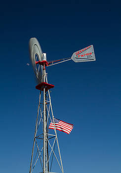 Windmill Moon and American Flag by Roger Mullenhour