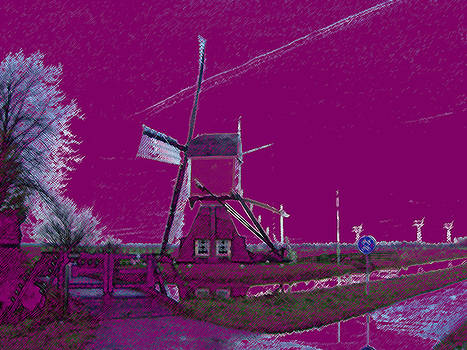 Windmill in purple sky by B and C Art Shop