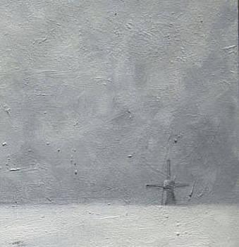 Windmill in snow by Nancy Van den Boom