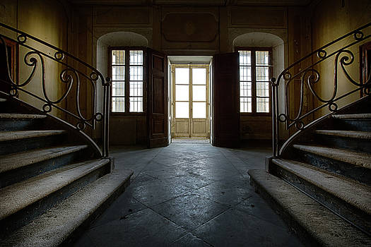 Window light on dark stairs by Dirk Ercken