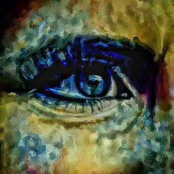 Windows Into The Soul Eye Painting Closeup All Seeing Eye In Blue Pink Red Magenta Yellow Eye Of Go by MendyZ