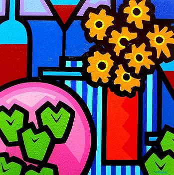 Wine Apples Flowers by John  Nolan