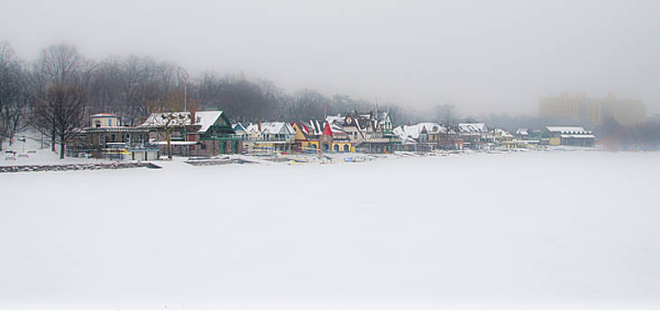 Winter - Boathouse Row - Schuylkill River by Bill Cannon