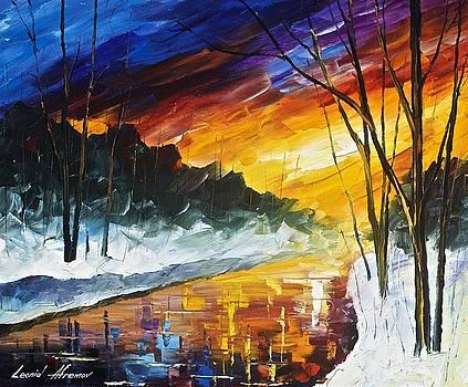 Winter Emotion - PALETTE KNIFE Oil Painting On Canvas By Leonid Afremov by Leonid Afremov