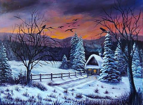 Winter Evening 2 by Bozena Zajaczkowska