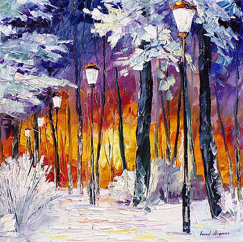 Winter Fire - PALETTE KNIFE Oil Painting On Canvas By Leonid Afremov by Leonid Afremov