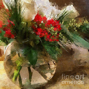 Winter Flowers in Glass Vase by Claire Bull