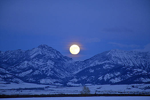 Winter Full Moon Over the Rockies by Bruce Gourley