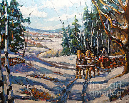 Winter Scene Loggers Horses by Prankearts by Richard T Pranke