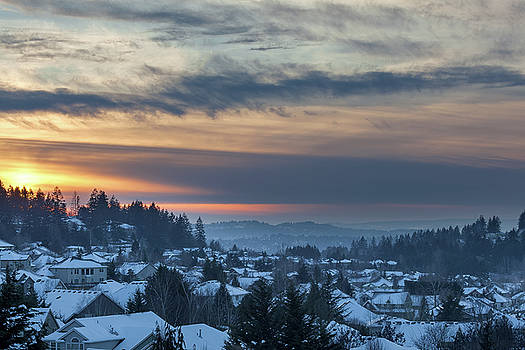 Winter Snow at Sunset in Happy Valley Oregon  by Jit Lim