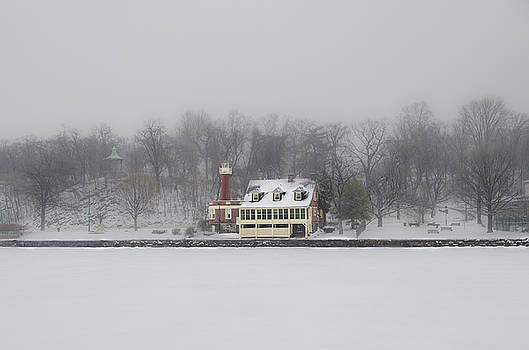 Winter - Turtle Rock Lighthouse - Boathouse Row by Bill Cannon