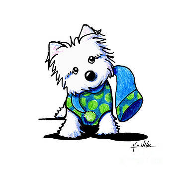 Winter Westie With Lime by Kim Niles