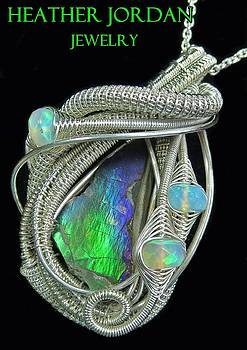 Wire-Wrapped Ammolite Pendant in Tarnish-Resistant Sterling Silver with Ethiopian Welo Opals - 13 by Heather Jordan