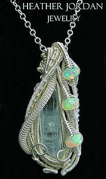 Wire-Wrapped Aquamarine Crystal Pendant in Sterling Silver with Ethiopian Opals - AQPSS4 by Heather Jordan