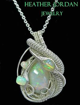 Wire-Wrapped Australian Opal Pendant Necklace in Sterling Silver with Ethiopian Opals- AUOPSS15 by Heather Jordan