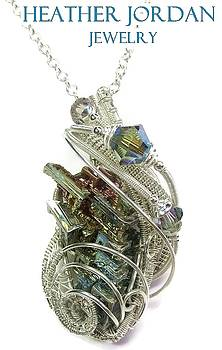 Wire-Wrapped Bismuth Crystal and Sterling Silver Pendant with Swarovski Crystal - BSMTHSS10 by Heather Jordan