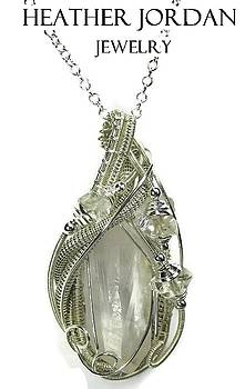 Wire-Wrapped Clear Quartz Crystal Pendant in Sterling Silver with Herkimer Diamond and Chain by Heather Jordan