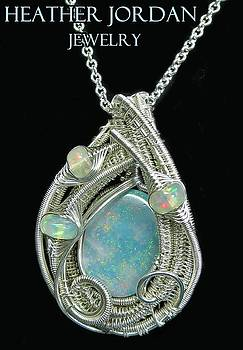 Wire-Wrapped Coober Pedy Australian Opal Pendant in Sterling Silver with Ethiopian Opals- AUOPSS8 by Heather Jordan