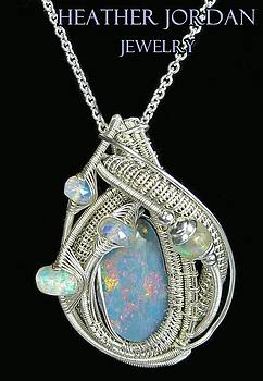 Wire-Wrapped Coober Pedy Australian Opal Pendant in Sterling Silver with Ethiopian Opals- AUOPSS9 by Heather Jordan