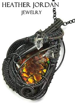 Wire-Wrapped Dragon Skin Ammolite Pendant in Antiqued Sterling Silver with Herkimer Diamonds - 12 by Heather Jordan
